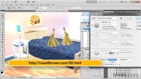 Rendering a stereoscopic 3D artwork: Photoshop CS5 Extended One-on-One: 3D Scenes
