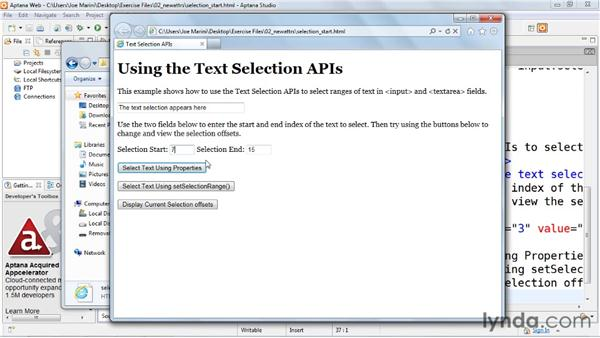 Using the text selection APIs: HTML5: Web Forms in Depth