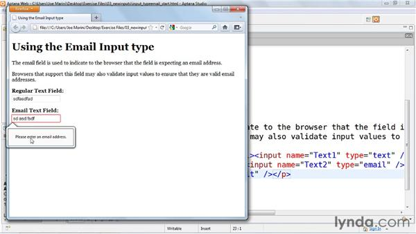 Capturing email addresses: HTML5: Web Forms in Depth