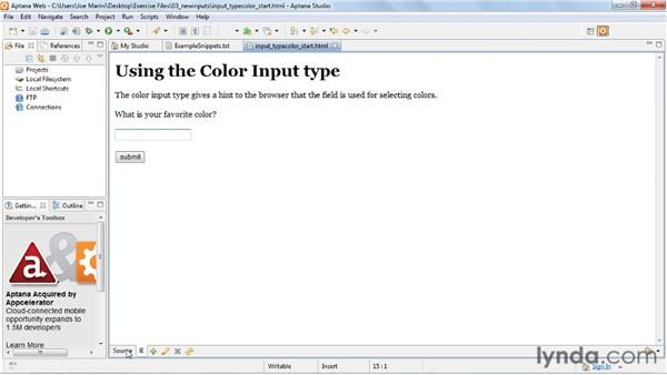 Invoking the color picker for field input: HTML5: Web Forms in Depth