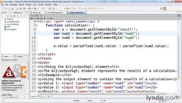 Displaying the results of a calculation using the output element: HTML5: Web Forms in Depth