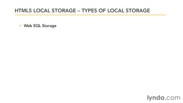Four types of storage: HTML5: Local Storage and Offline Applications in Depth
