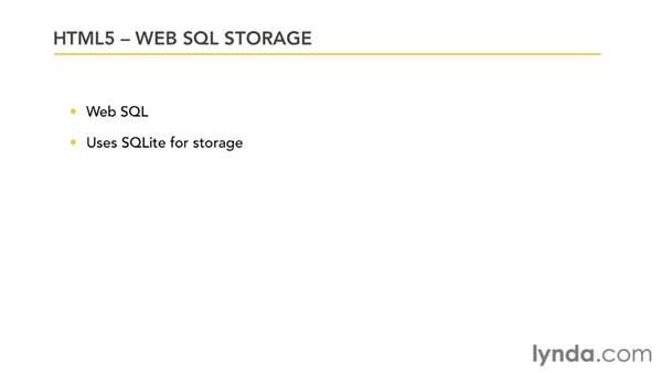 The state of Web SQL Storage: HTML5: Local Storage and Offline Applications in Depth