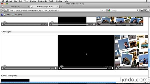 Setting the video width and height: HTML5: Video and Audio in Depth