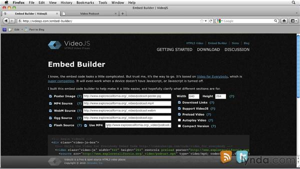 Using an embed code builder: HTML5: Video and Audio in Depth