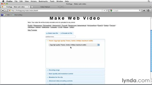 Encoding Ogg, Theora, and WebM with Firefogg: HTML5: Video and Audio in Depth