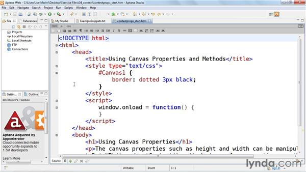 Identifying the Canvas element's methods and properties: HTML5: Graphics and Animation with Canvas