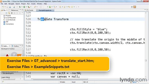 Transforming objects using the translate tag: HTML5: Graphics and Animation with Canvas