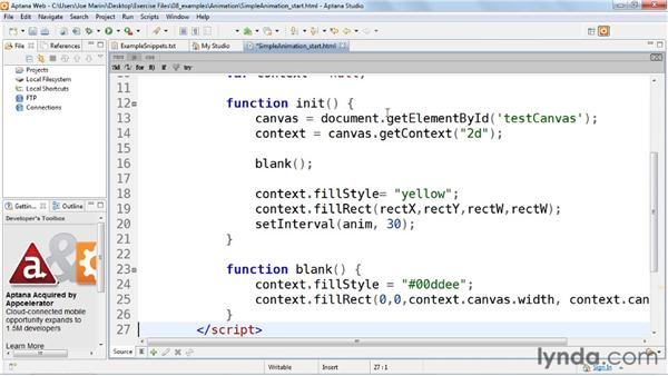 Creating a basic animation: HTML5: Graphics and Animation with Canvas
