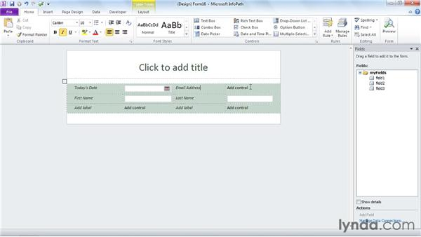 Automatically creating a data source: InfoPath 2010 Essential Training