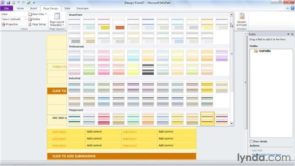 Choosing a theme: InfoPath 2010 Essential Training