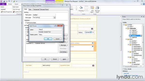 Using list boxes and combo boxes: InfoPath 2010 Essential Training