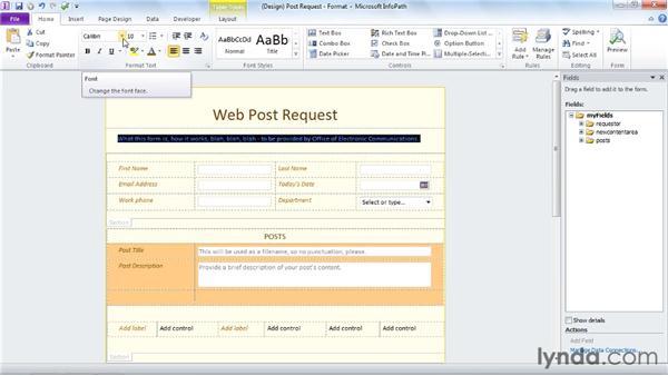 Formatting labels: InfoPath 2010 Essential Training