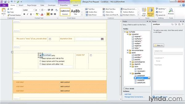 Using rules for conditional formatting: InfoPath 2010 Essential Training