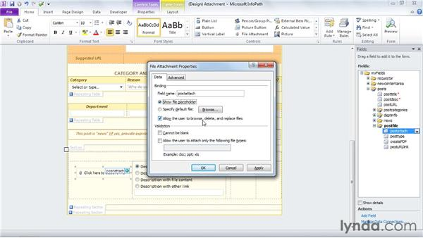 Using the file attachment control: InfoPath 2010 Essential Training