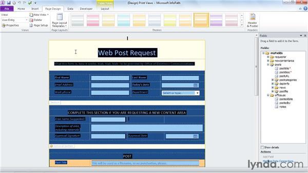Creating a print view : InfoPath 2010 Essential Training