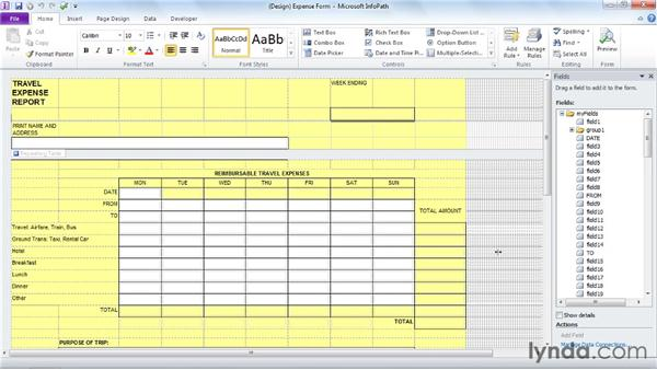 Importing an Excel form: InfoPath 2010 Essential Training