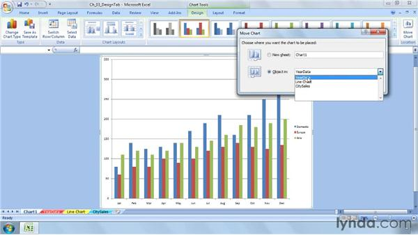 Changing the location of a chart: Excel 2007: Charts in Depth