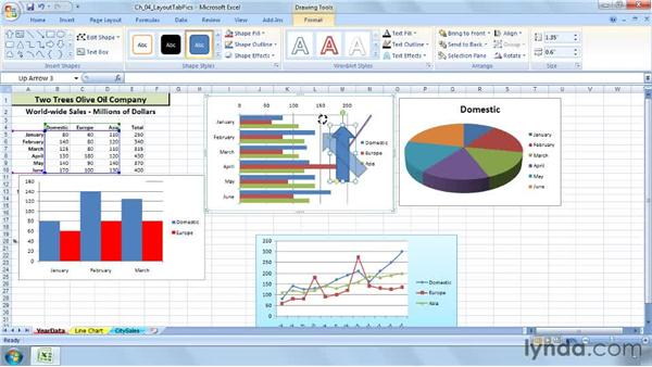 Adding shapes and arrows : Excel 2007: Charts in Depth