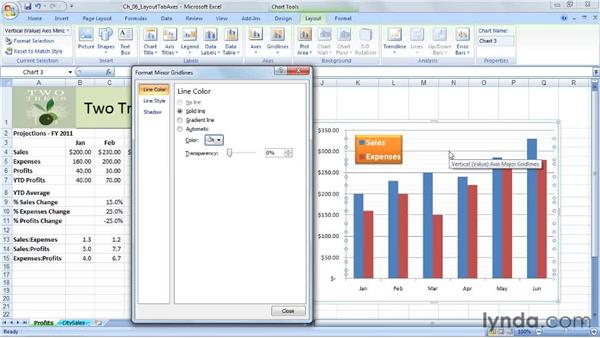 Working with gridlines: Excel 2007: Charts in Depth