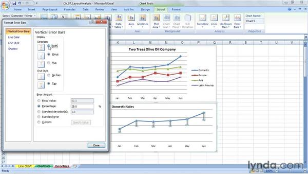 Adding error bars: Excel 2007: Charts in Depth