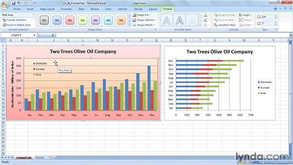 Selecting shape fill and outline: Excel 2007: Charts in Depth