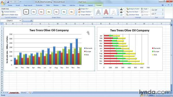 Specifying line style, color, and weight: Excel 2007: Charts in Depth