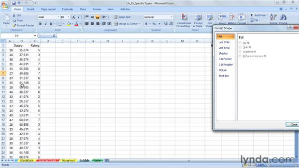 Using doughnut, bubble, and radar charts: Excel 2007: Charts in Depth