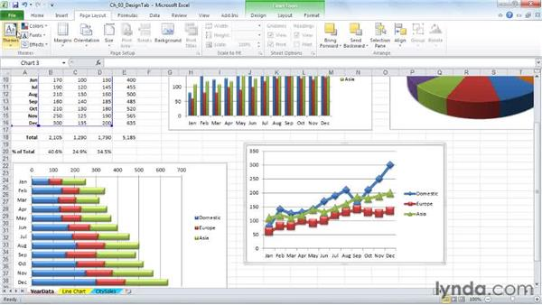 Choosing a chart style from 48 colorful variations: Excel 2010: Charts in Depth