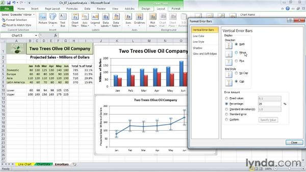 Adding error bars: Excel 2010: Charts in Depth