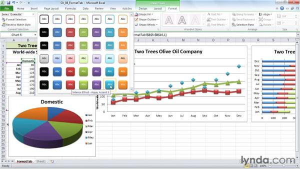 Selecting shape fill and outline: Excel 2010: Charts in Depth
