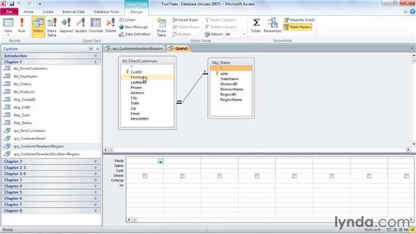Exploring the design interface: Access 2010: Queries in Depth