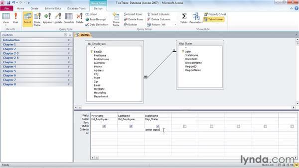 Understanding parameter queries: Access 2010: Queries in Depth