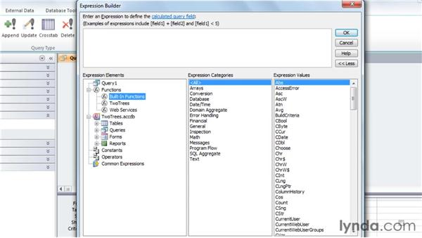 Exploring the Expression Builder interface: Access 2010: Queries in Depth