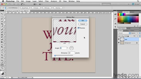 Interacting with type layers: Photoshop for Designers: Type Essentials