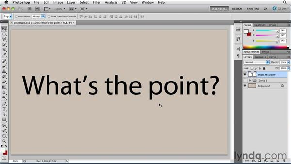 Entering and selecting point type: Photoshop for Designers: Type Essentials