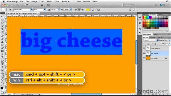 Sizing type: Photoshop for Designers: Type Essentials