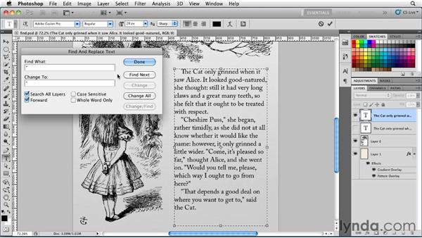 Finding and replacing text: Photoshop for Designers: Type Essentials