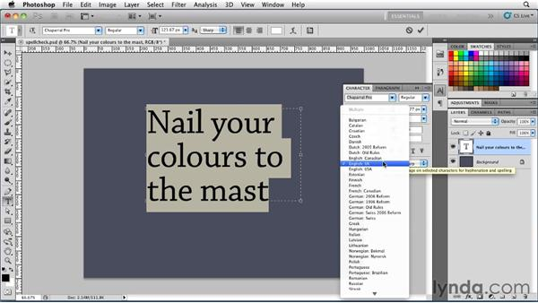 Spell-checking your type: Photoshop for Designers: Type Essentials