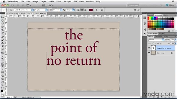Creating returns and non-breaking spaces in paragraph type: Photoshop for Designers: Type Essentials