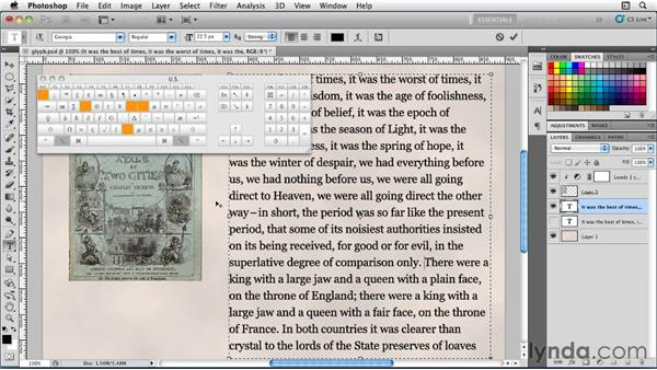 Entering glyphs and special characters: Photoshop for Designers: Type Essentials