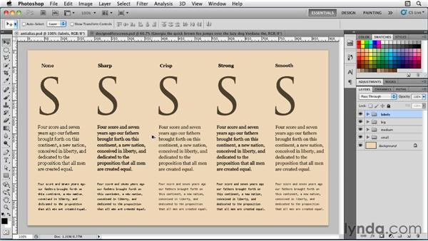 Applying anti-aliasing to type: Photoshop for Designers: Type Essentials