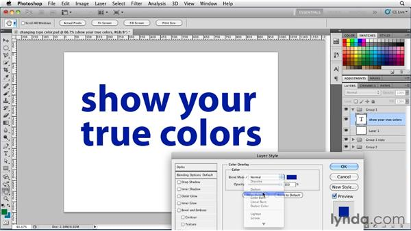 Changing type color: Photoshop for Designers: Type Essentials