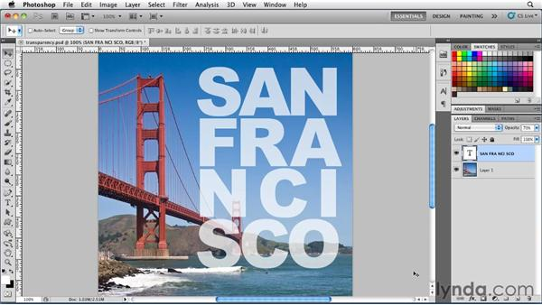 Working with transparency: Photoshop for Designers: Type Essentials