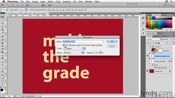 Applying a gradient: Photoshop for Designers: Type Essentials