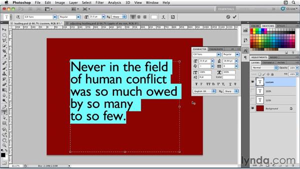 Setting leading: Photoshop for Designers: Type Essentials