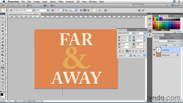 Kerning type: Photoshop for Designers: Type Essentials