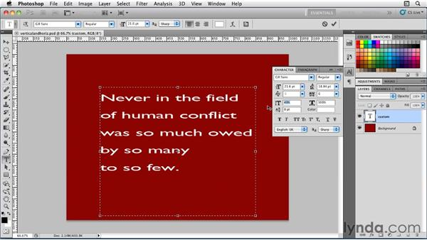 Using horizontal and vertical scale options: Photoshop for Designers: Type Essentials