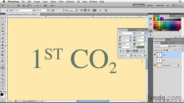 Using Baseline Shift: Photoshop for Designers: Type Essentials