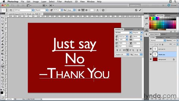 Casing and underlining options: Photoshop for Designers: Type Essentials
